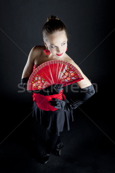 Portret baletnica fan kobiet dance Zdjęcia stock © phbcz