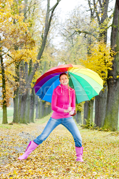 Сток-фото: женщину · зонтик · аллеи · женщины · ходьбы