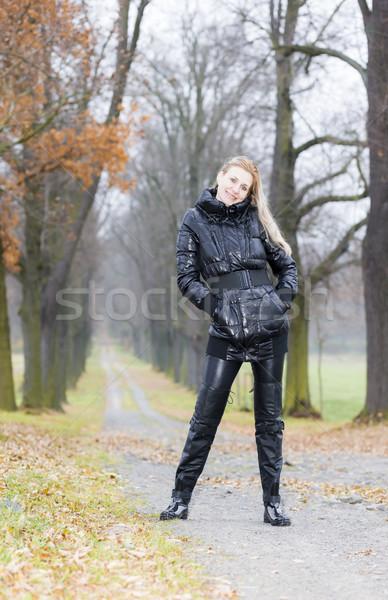 Nő visel fekete ruházat csizma őszi Stock fotó © phbcz