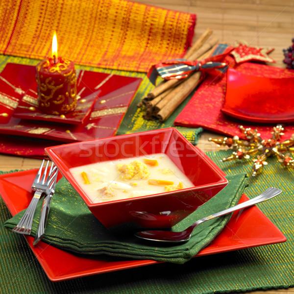 Stock foto: Weihnachten · Fischsuppe · Essen · Fisch · Kerzen · Suppe