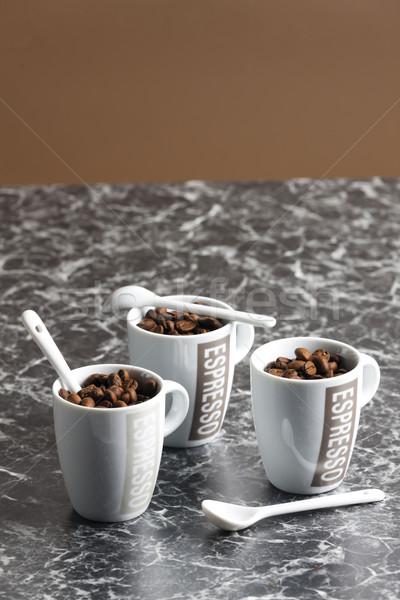 Kávéscsészék tele kávé kávé ital fehér Stock fotó © phbcz