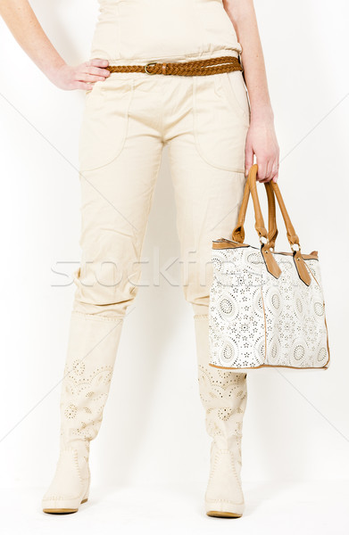 detail of standing woman wearing summer boots holding a handbag Stock photo © phbcz