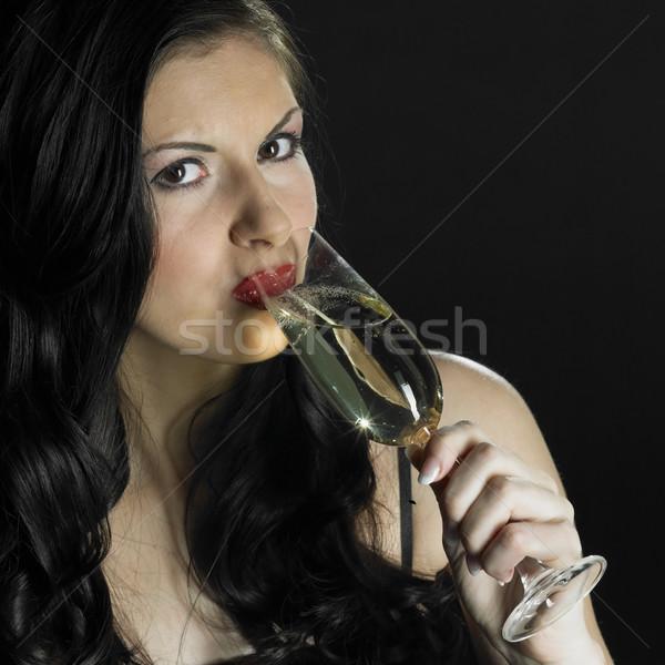 Portre kadın cam şampanya şarap gözlük Stok fotoğraf © phbcz