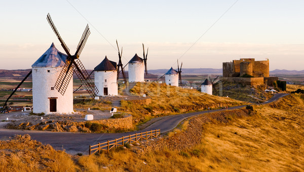 Stock photo: windmills with castle, Consuegra, Castile-La Mancha, Spain