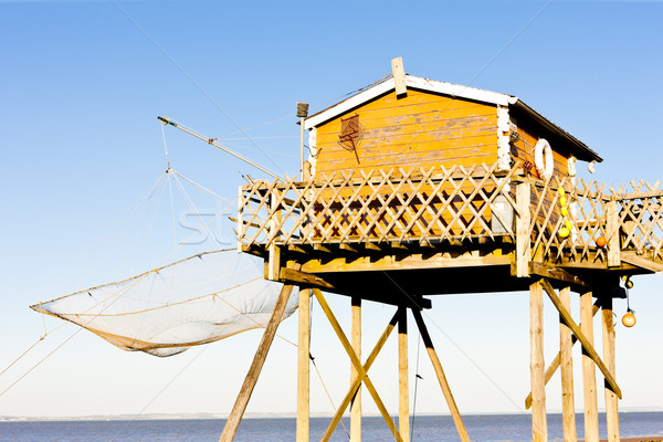 Stock photo: fishing house with a fishing net, Gironde Department, Aquitaine,