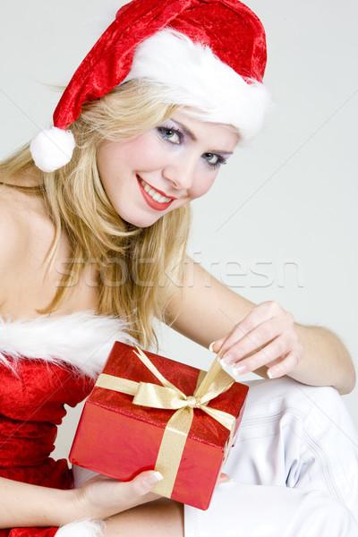 Foto d'archivio: Babbo · natale · Natale · presenti · donna · rosso · giovani