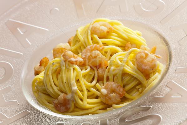 Spagetti garnélák tányér étel egészséges tengeri hal Stock fotó © phbcz