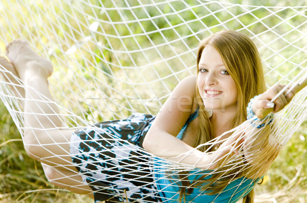 woman resting in hammock Stock photo © phbcz