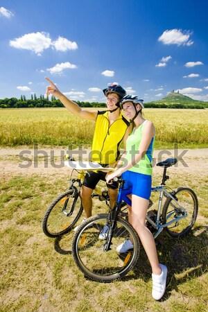 Garrafa água vinha mulher esportes verão Foto stock © phbcz