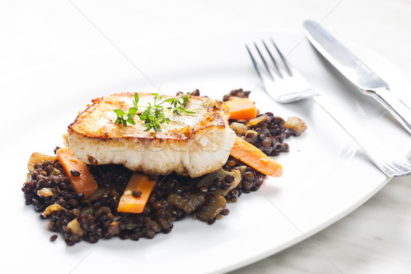 pikeperch fillet with lentils and carrot Stock photo © phbcz