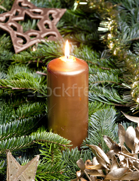 Christmas still life with a candle Stock photo © phbcz