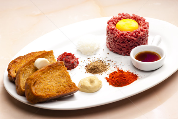 sirloin steak tartare Stock photo © phbcz