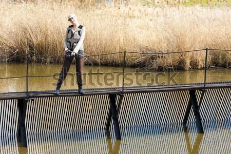 Zdjęcia stock: Kobieta · połowów · molo · staw · kobiet · relaks