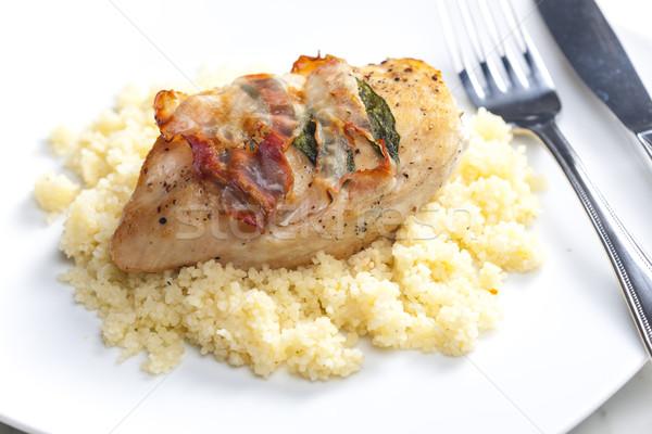 Pollo carne salvia tocino servido Foto stock © phbcz
