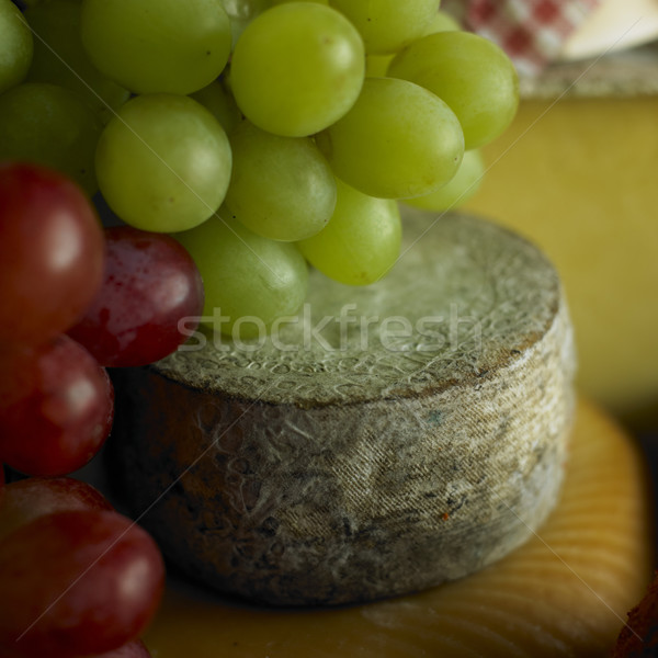 cheese with grapes Stock photo © phbcz
