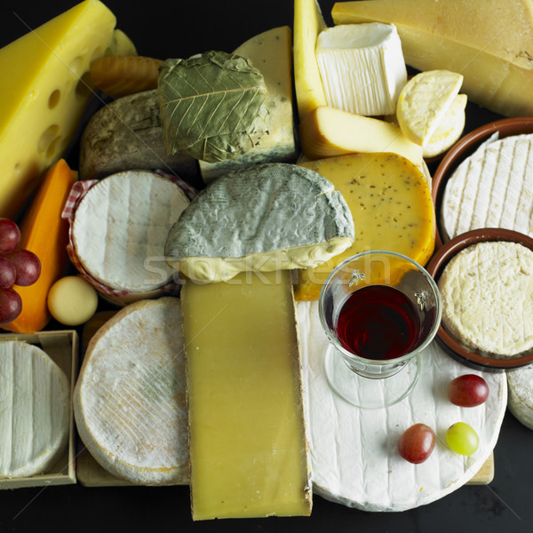 cheese still life with red wine Stock photo © phbcz