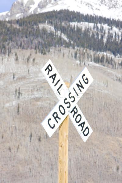 Spoorweg Colorado USA winter vervoer Stockfoto © phbcz