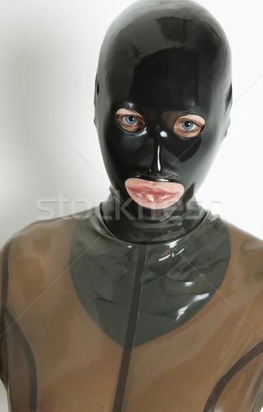 Retrato mulher látex roupa moda Foto stock © phbcz