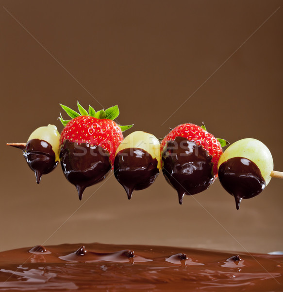chocolate fondue Stock photo © phbcz