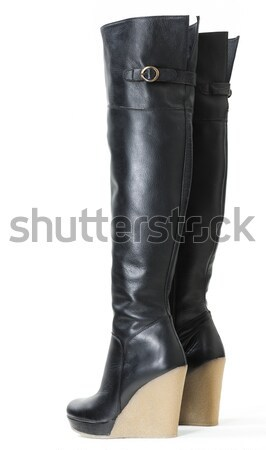 fashionable platform black boots Stock photo © phbcz