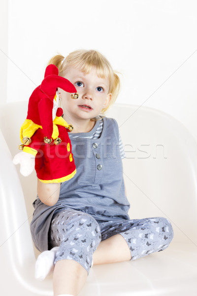 little girl playing with a glove puppet Stock photo © phbcz