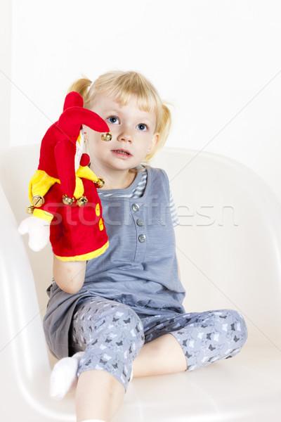 девочку играет перчатка марионеточного девушки ребенка Сток-фото © phbcz