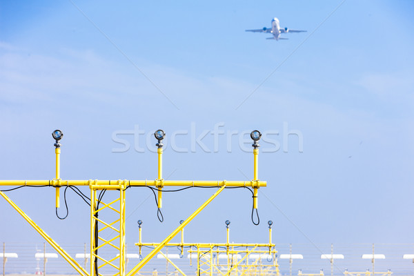 landing lights on runway, Prague, Czech Republic Stock photo © phbcz