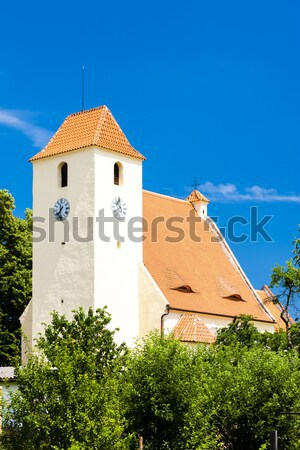fortification wall and the Church of St. John the Baptist, stron Stock photo © phbcz