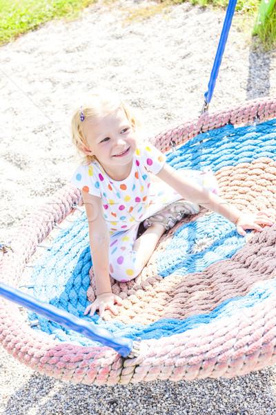 Petite fille aire de jeux fille enfant été détendre Photo stock © phbcz