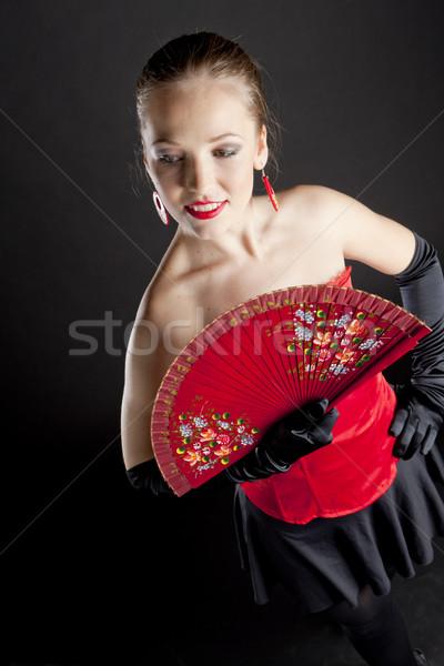 Portret baletnica fan kobiet balet Zdjęcia stock © phbcz