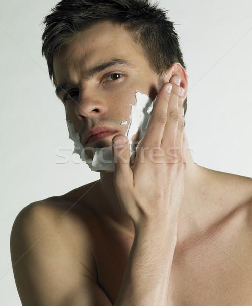 Retrato homem espuma beleza faces jovem Foto stock © phbcz