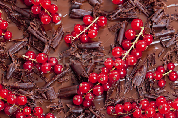 Rouge groseille chocolat alimentaire dessert brun Photo stock © phbcz