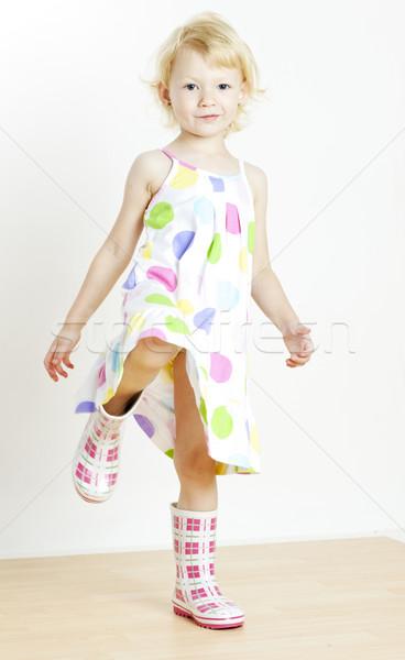 Bambina indossare abito stivali di gomma ragazza moda Foto d'archivio © phbcz