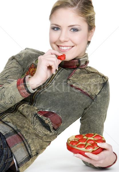 portrait of woman with chocolate Stock photo © phbcz