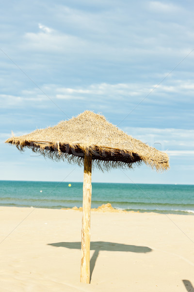 sunshade on the beach in Narbonne Plage, Languedoc-Roussillon, F Stock photo © phbcz