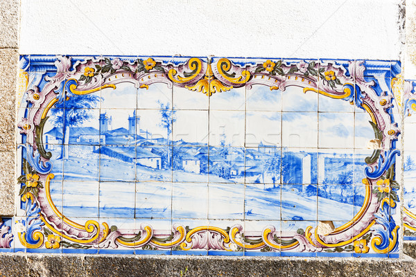 Tuiles gare Portugal art bleu peinture Photo stock © phbcz