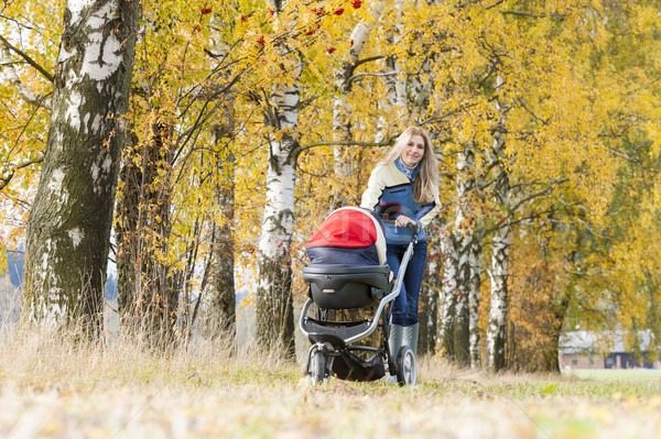 woman with a pram on walk in autumnal nature Stock photo © phbcz