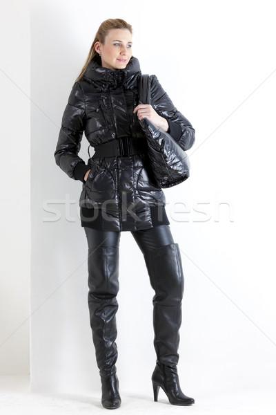 Постоянный женщину черный одежды сумочка Сток-фото © phbcz
