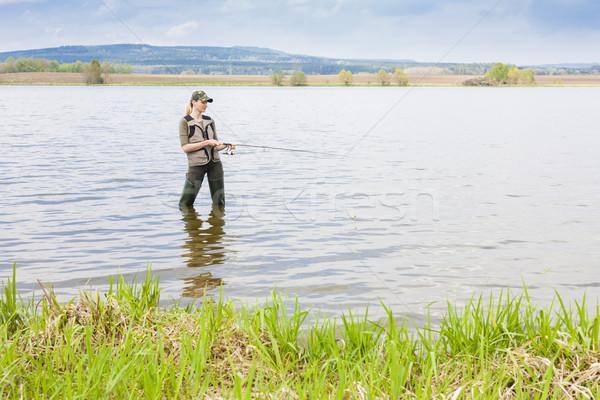 Donna pesca stagno primavera donne panorama Foto d'archivio © phbcz
