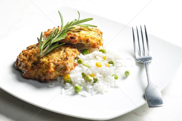 Сток-фото: лосося · овощей · риса · продовольствие · Burger