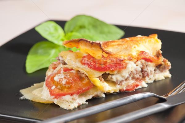Lasaña Turquía carne tomates placa tenedor Foto stock © phbcz