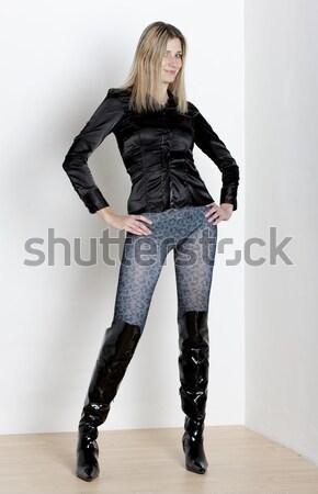 立って 女性 着用 ジーンズ 黒 ブーツ ストックフォト © phbcz