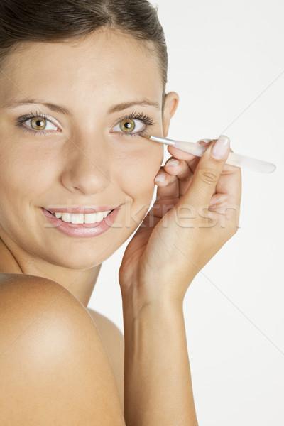 Stok fotoğraf: Portre · genç · kadın · kirpik · kadın · güzellik