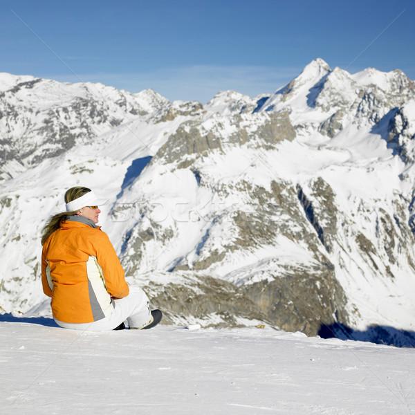 woman in winter mountains, Alps Mountains, Savoie, France Stock photo © phbcz