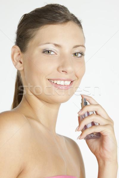 Stok fotoğraf: Portre · genç · kadın · parfüm · kadın · güzellik · şişe
