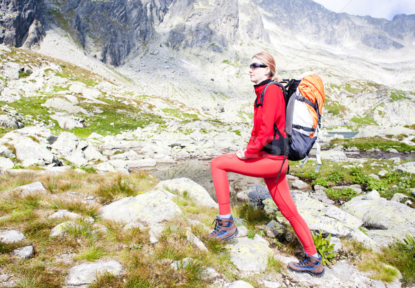 woman backpacker at Five Spis Tarns, Vysoke Tatry (High Tatras), Stock photo © phbcz