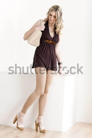 Stockfoto: Permanente · vrouw · denim · zomerschoenen · vrouwen