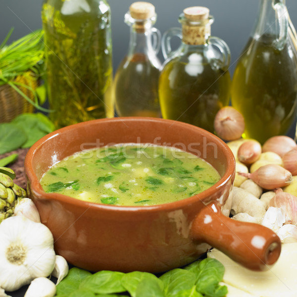 soup (bouillon) with spinach Stock photo © phbcz