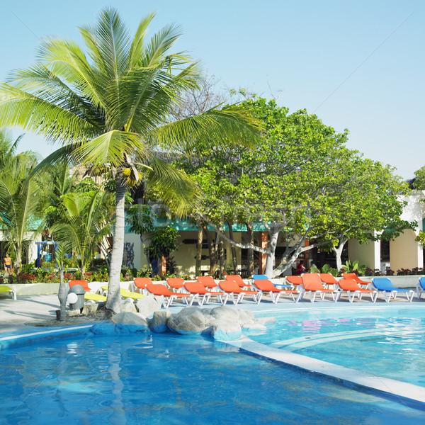 Stockfoto: Hotels · zwembad · Cuba · strand · palm