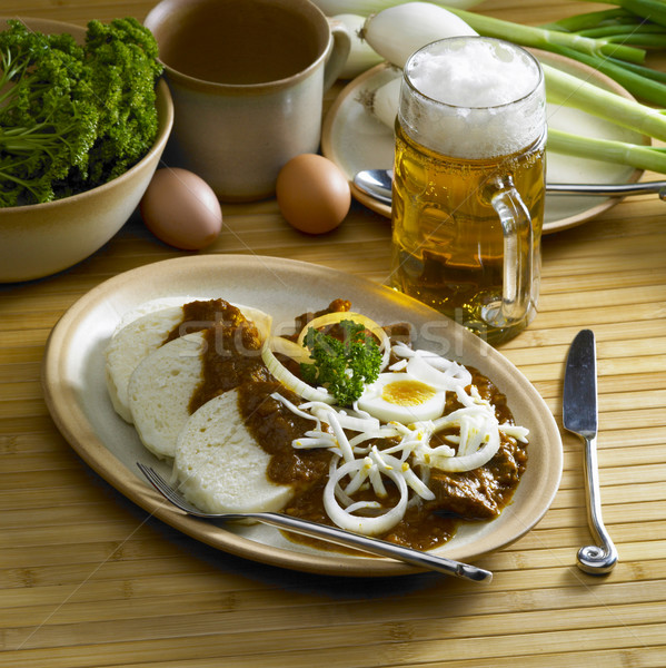 beef goulash with egg Stock photo © phbcz